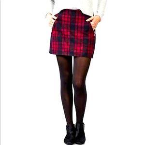 Gap Wool Tartan Plaid Mini Skirt Pink